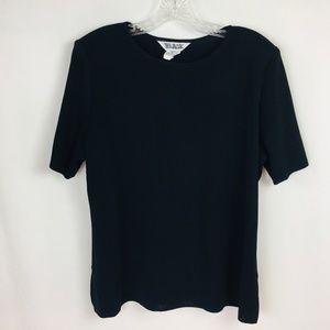 Misook Black Short Sleeve Shell Sweater
